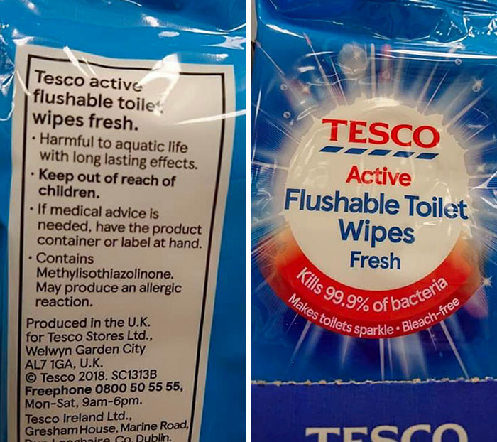"""Tesco Is Selling """"Flushable"""" Wet Wipes Which Are """"Harmful To Aquatic Life"""""""