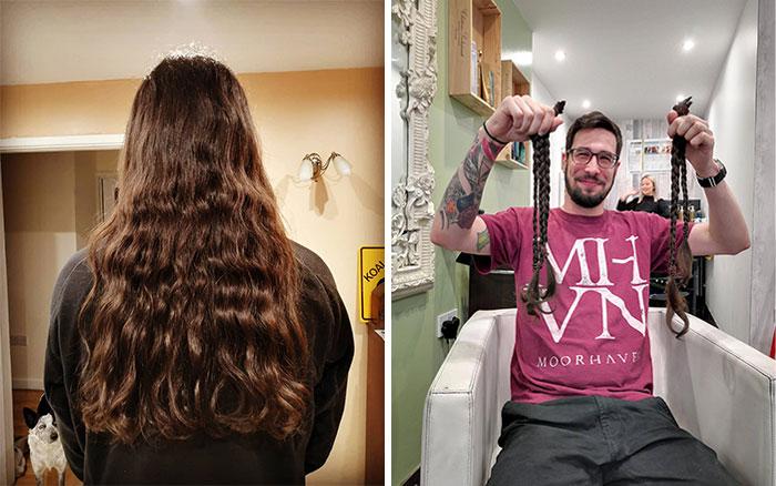 Hoy mi esposo donó su cabello, que dejó crecer por 17 años, a la Fundación pequeña princesa (Little Princess Trust)