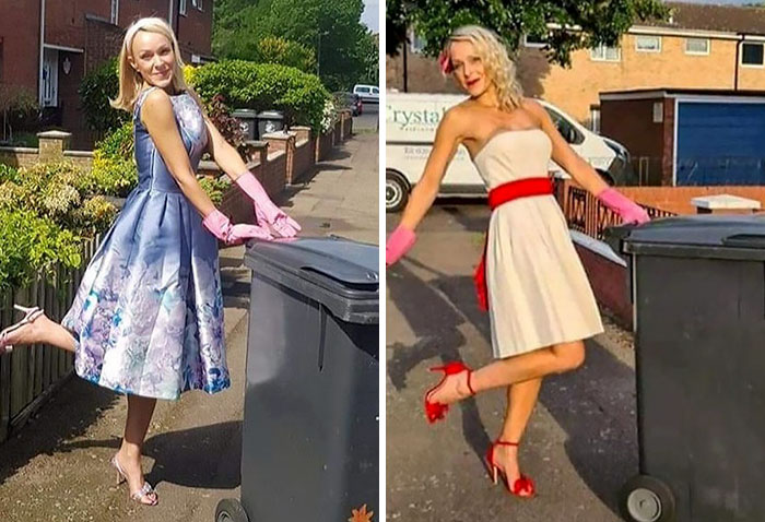 For 20 Weeks, This Essex Woman Wore Posh Dresses To Take Her Garbage Out (13 Pics)