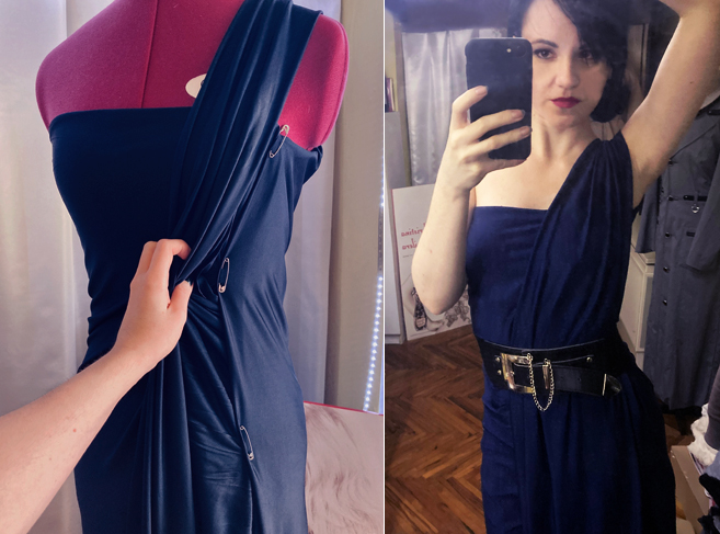 I Made Myself A Dress In 10 Minutes Using Only 3 Safety-Pins!