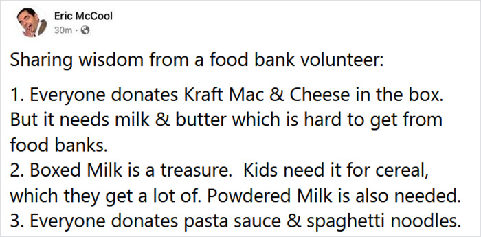 Woman Shares A List Of Acceptable Donation To Food Banks Which Gets Appreciated By 108K People On Twitter