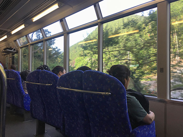 Train Seats In Japan Facing Outwards So You Can See The Scenery
