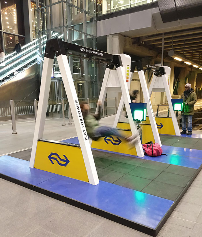 These Public Swings Powered Chargers For Your Phone In A Train Station
