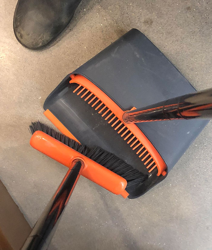 This Dustpan Has A Comb For The Broom