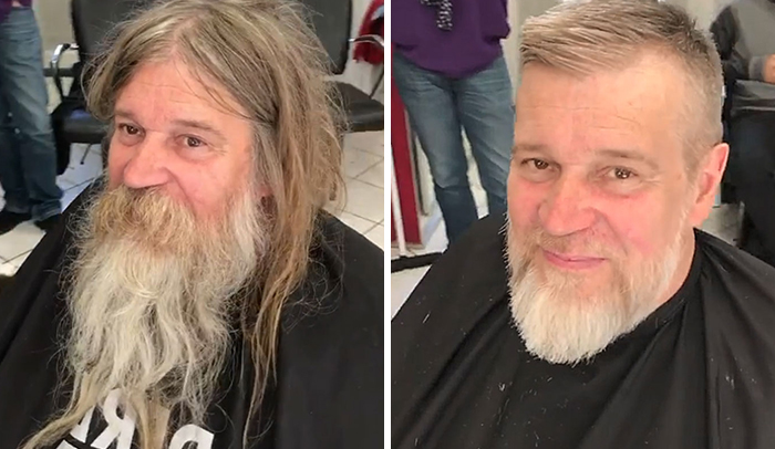 French Barber Gives A Homeless Man A Free Haircut, And He Now Looks Like His Celeb Clients