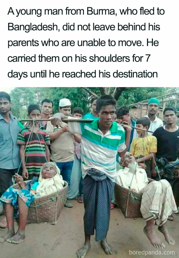 This Dude Traveling With His Parents, But They Can't Move So They Must Be Carried By Him