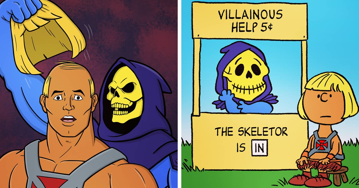 21 Illustrations Of Shenanigans Between He-Man And Skeletor In Various Cartoon Styles