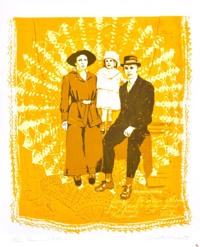 My Grandmother Was A Wonderful Artist & She Made This Screen Print Of A Family Portrait