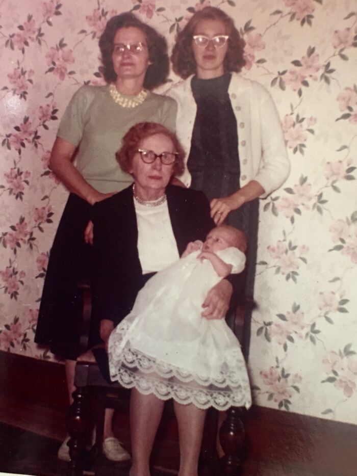 My Brother (Baby) In Great Grandmas Lap. Grandma In Green. My Mom In White Sweater. 1960