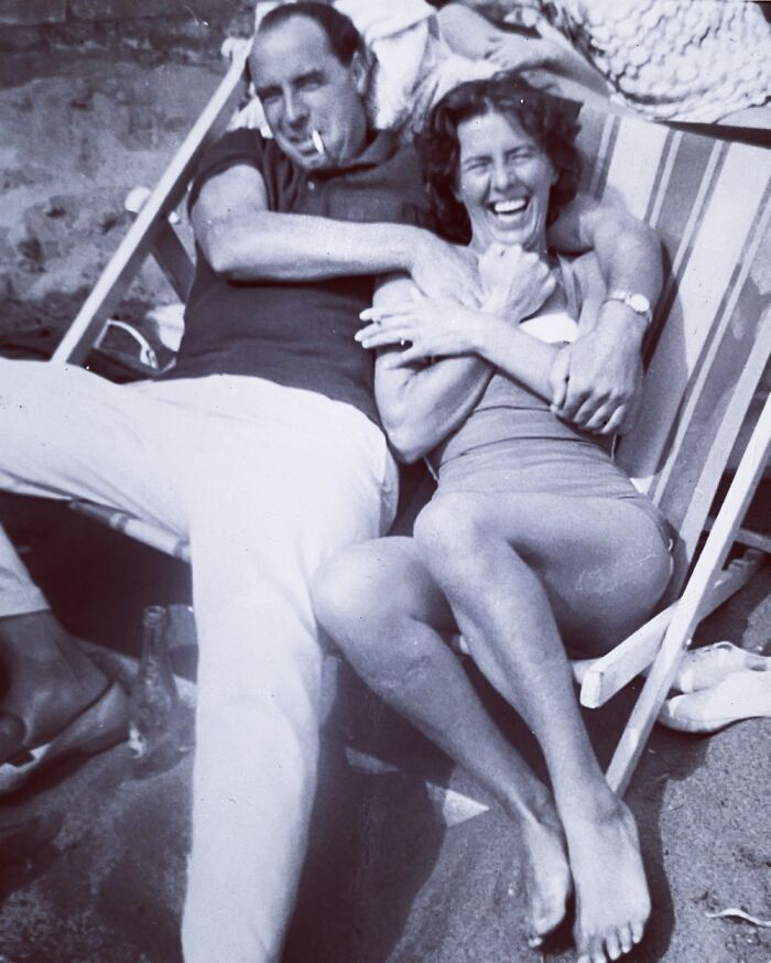 My Grandparents Having Fun At The Beach In The Early 1950s
