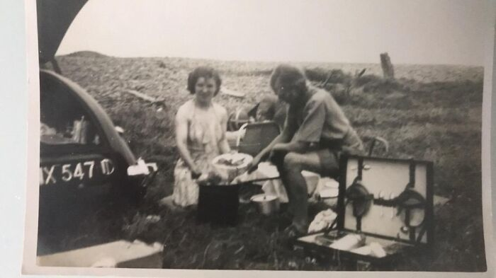 Gran And Grandad Having Picnic In Their Riley Pathfinder 1950s UK