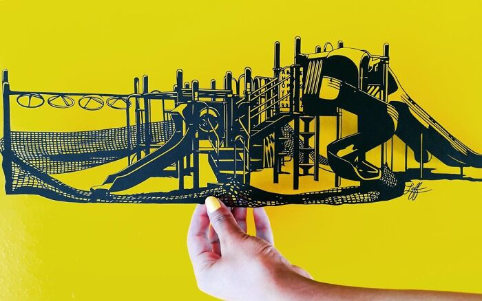 This Papercut Playground Closed Because Of Covid. Made With An X-Acto Knife. Insta @rosaleff