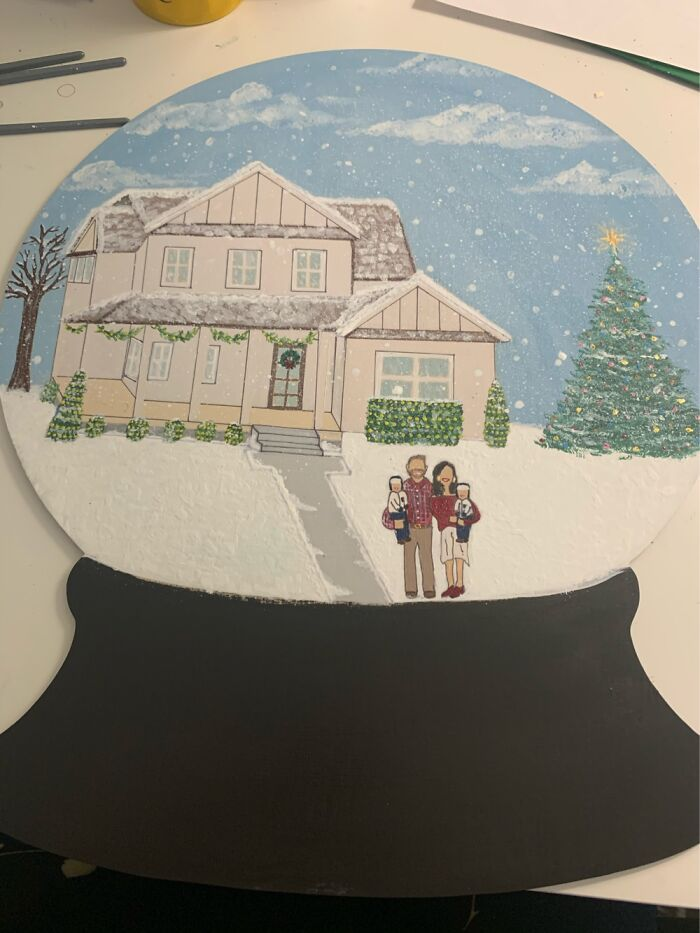 Custom Home And Family Portrait Snow Globe Door Hanger. This One Took A Really Long Time!