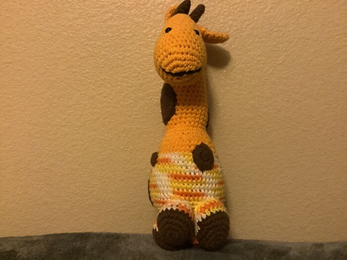 Giraffey. My Grandma Knitted It For Me When I Was Around The Age Of 3 And It's Still In Great.