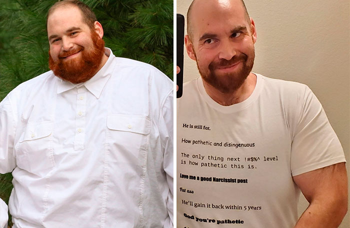 Guy Goes Viral For For His Transformation, Receives Hate Messages, Prints Them On A Shirt, Goes Viral Again