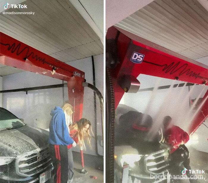Apparently An Industrial Car Wash Hurts Human Flesh
