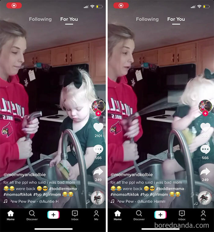Way Too Young Mother Thinks Spraying Daughter In The Face Is Hilarious, And Has Done It More Than Once Per The Caption