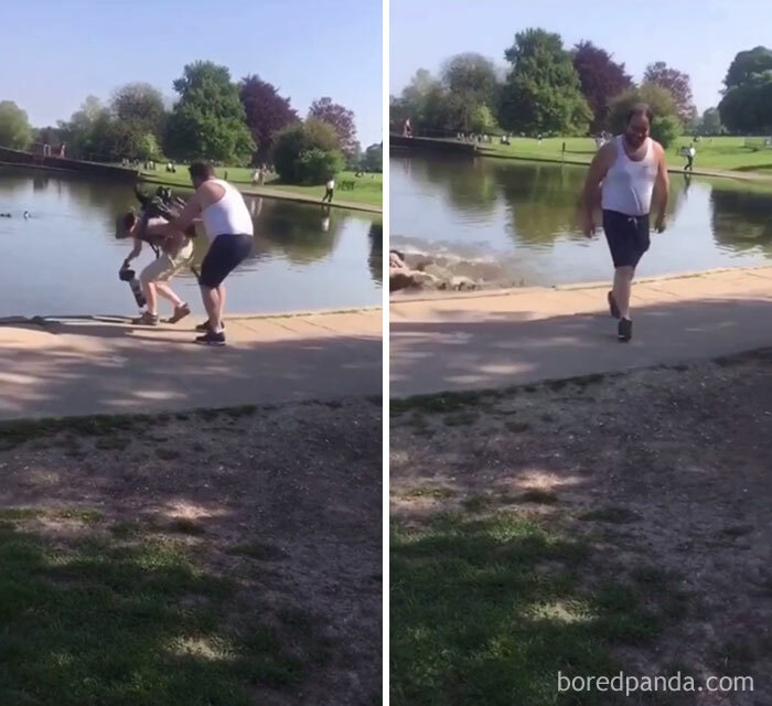 Guy Pushes Photographer Into Pond