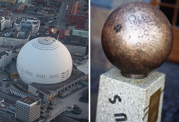 In Sweden There Are These Statues Of Planets Placed Around The Country. Together They Form The Solar System With Correct Proportions. Globen (The Globe) Is The Sun