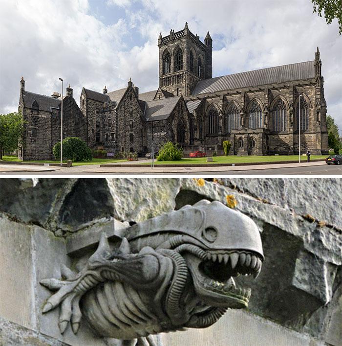 Paisley Abbey (Scotland) Has An 'Alien' Gargoyle Above It's Archways