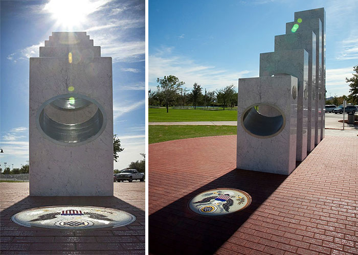 At Precisely 11:11 A.m. Each Veterans Day (Nov. 11), The Sun's Rays Pass Through The Ellipses Of The Five Armed Services Pillars To Form A Perfect Solar Spotlight Over A Mosaic Of The Great Seal Of The United States