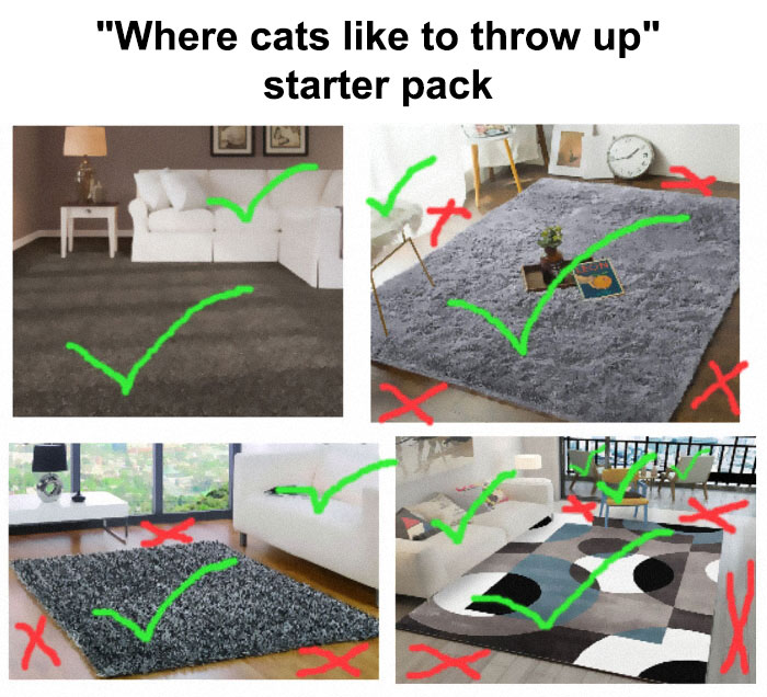 """Where Cats Like To Throw Up"" Starter Pack"