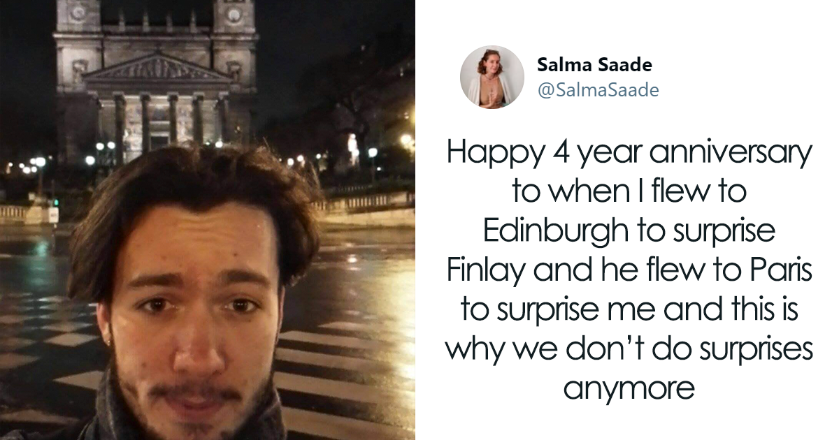 This Woman Travelled To Edinburgh To Surprise Her Boyfriend, Turns Out He Did The Same Thing And Travelled To Paris - bored panda