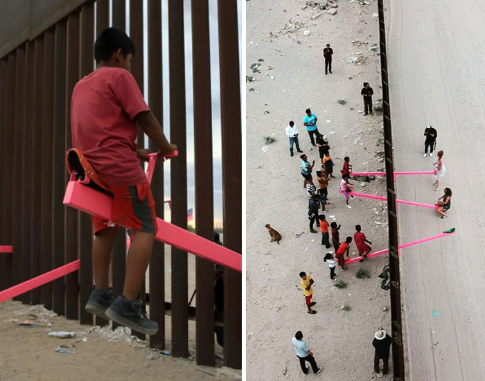 US-Mexico Border: Pink Seesaw Installation Wins 2020 'Design Of The Year'