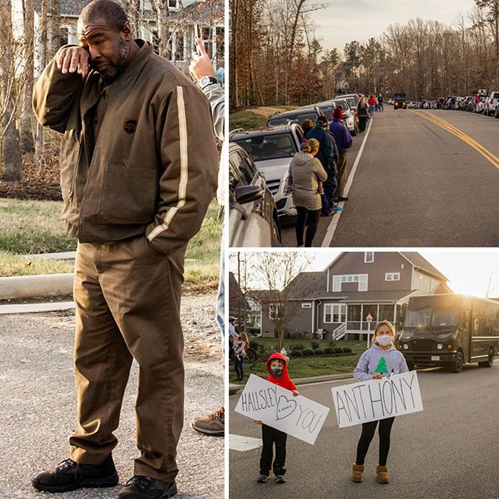 Este conductor de UPS repartió casi 200 paquetes al día durante las cuarentenas y las navidades. Esta semana, cientos de vecinos salieron a saludarle como un héroe