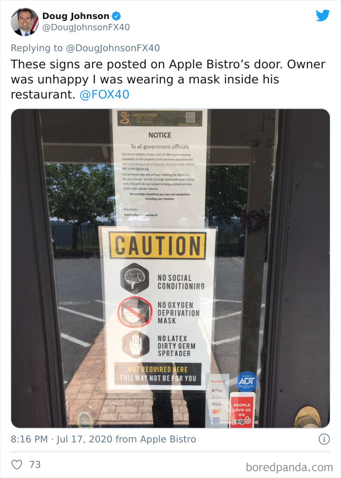 "Restaurant Bans Masks, Gloves And Social Distancing Because ""Freedom"""