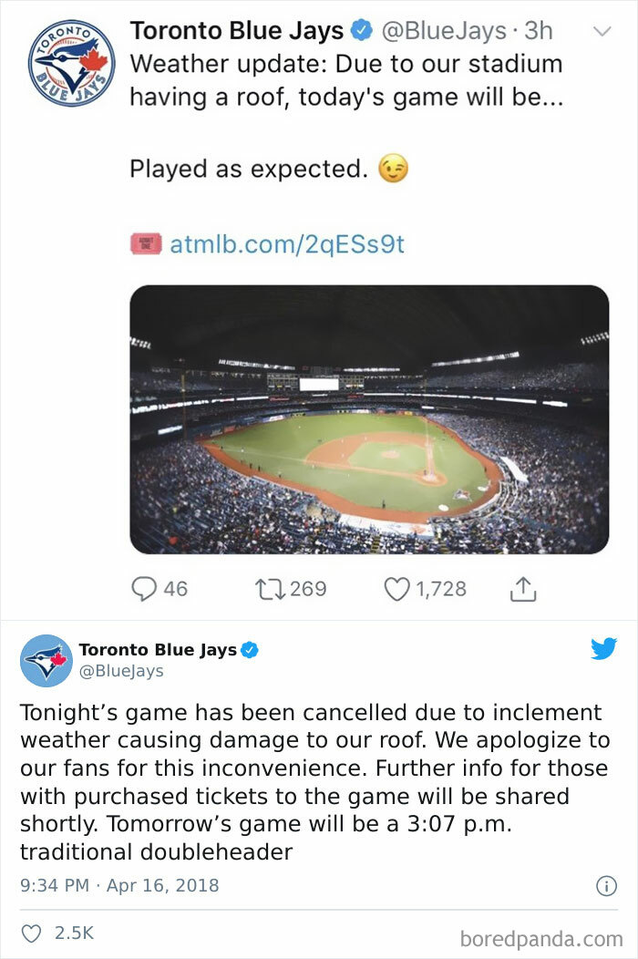 The Toronto Blue Jays React To All The Cancelled Mlb Games Recently