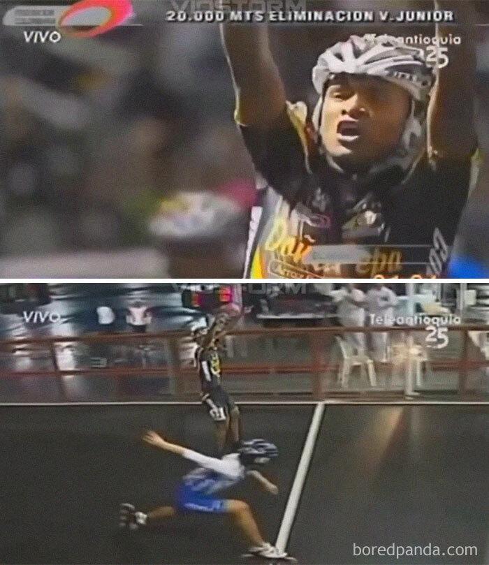 Rollerblader Prematurely Celebrates Victory Then Gets Robbed