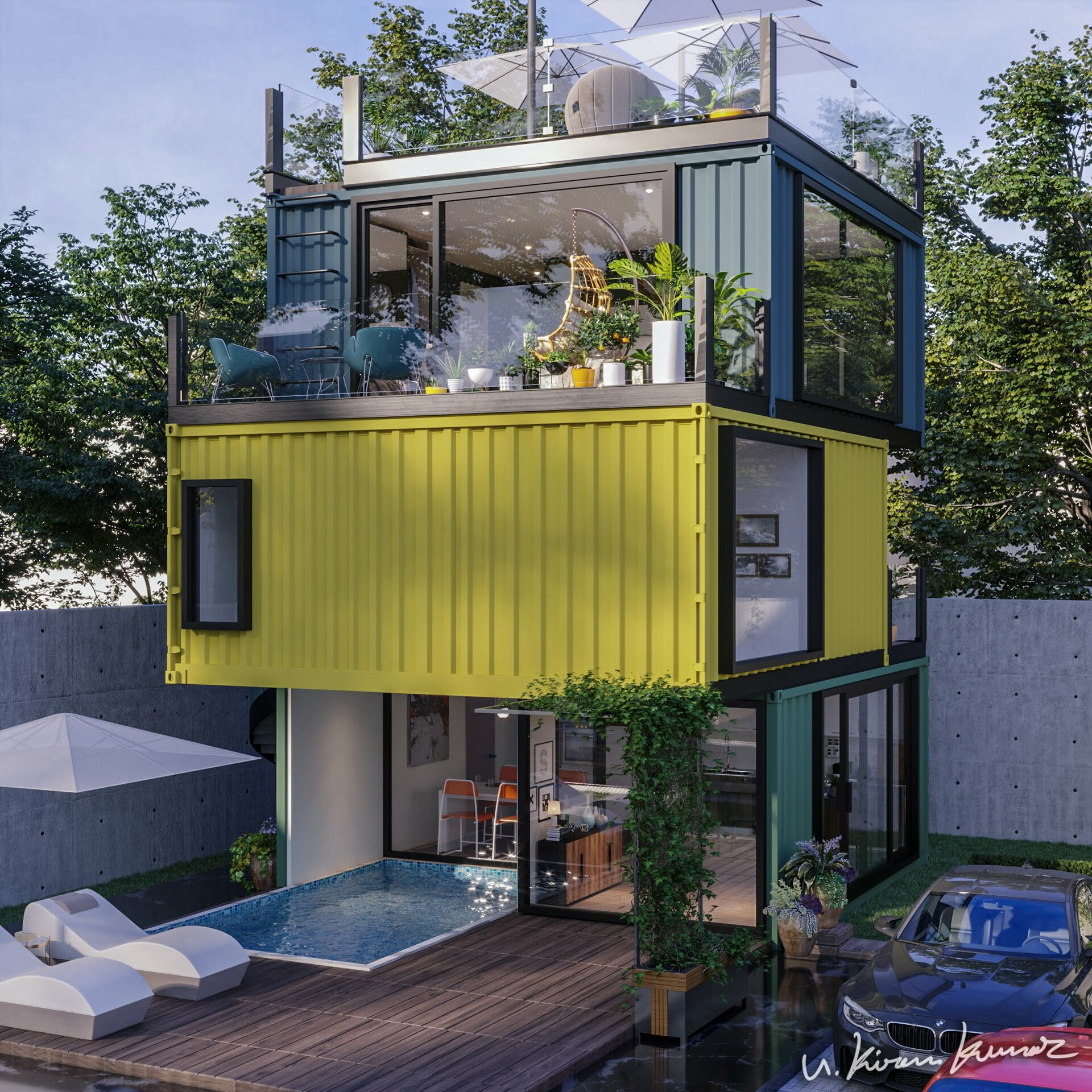 Amazing 3-Storey Cool Looking Container House Concept