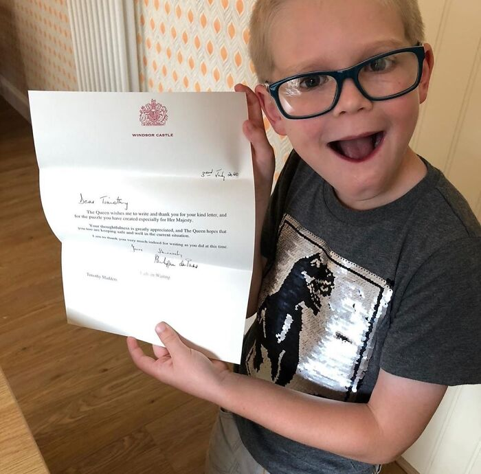 Timothy Madders Holding A Thank You Letter From The Queen. He Made Her A Homemade Wordsearch To Keep Her Occupied During Lockdown