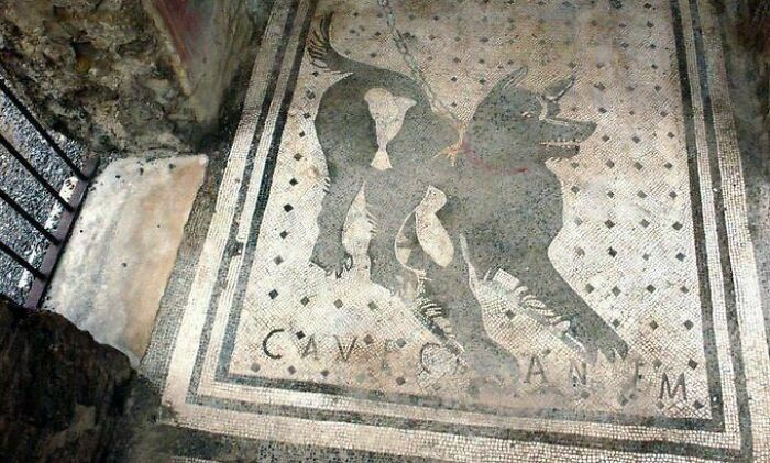 One Of The Oldest 'Beware Of The Dog' Signs In The World, Found In Pompeii Ruins, Italy