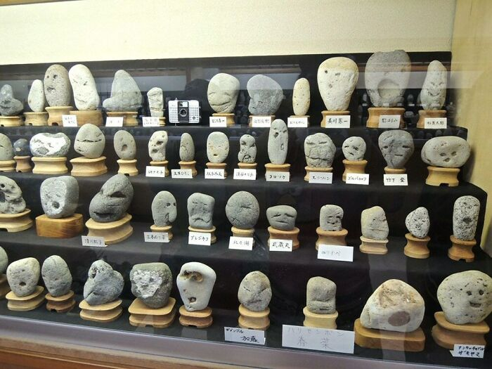 This Museum In Japan That Showcases Various Uniquely Shaped Naturally Formed Rocks With Faces On Them