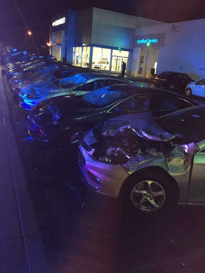 Guy Hopped A Curb And Totaled 12 New Chevrolet's
