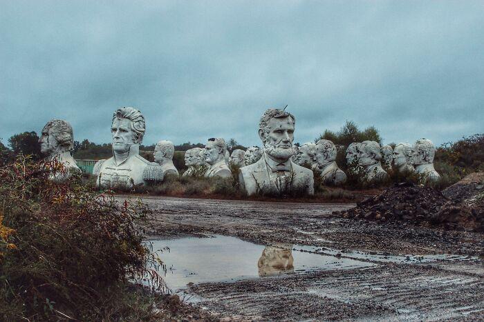 Cabezas de presidentes abandonadas en un campo de Virginia