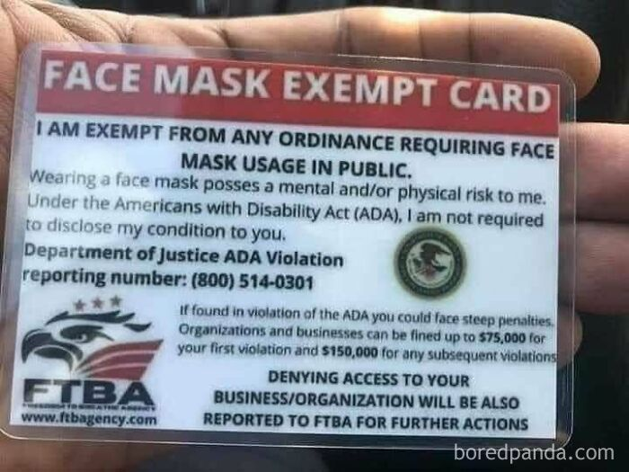 """A Facebook Group Called """"Freedom To Breathe"""" Are Making These Fake Mask Exemptions Cards As A Way To Get Around Wearing A Mask. If You Come Across These Cards, They Have Absolutely Are Not Official Government Cards Nor Do They Have Any Authority With Any Government Agency"""