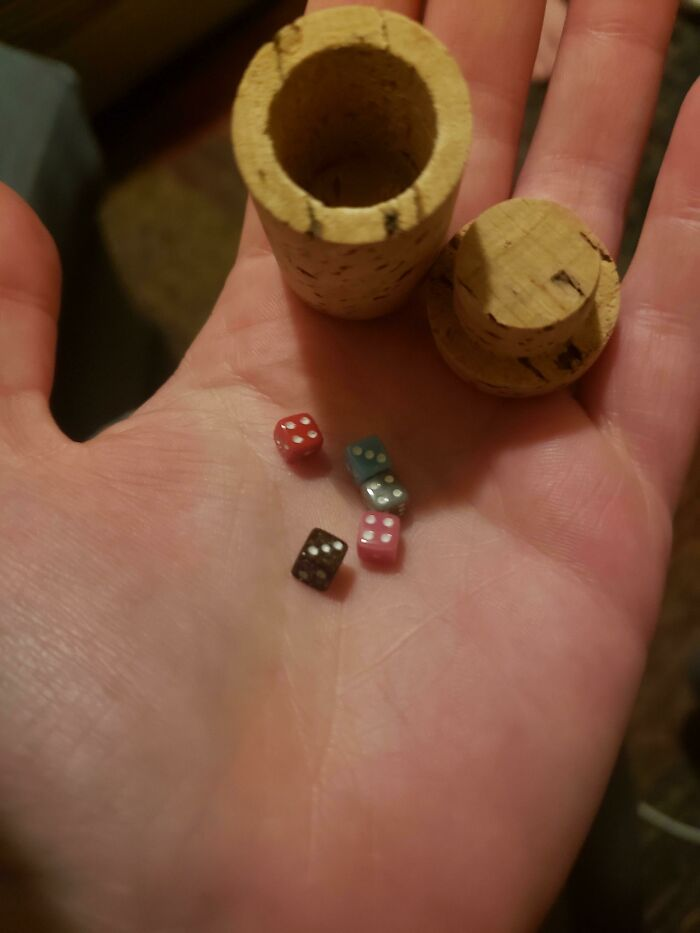 The Wine I Ordered Online Came With A Tiny Set Of Dice Packaged Inside A Hollow Cork