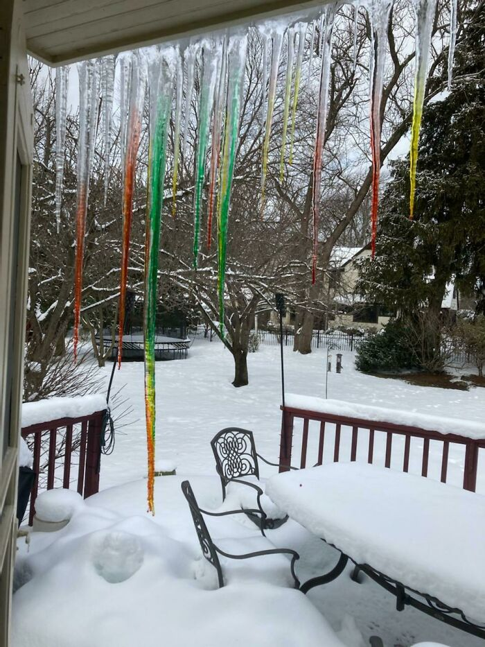 My Dad Put Food Coloring On Icicles
