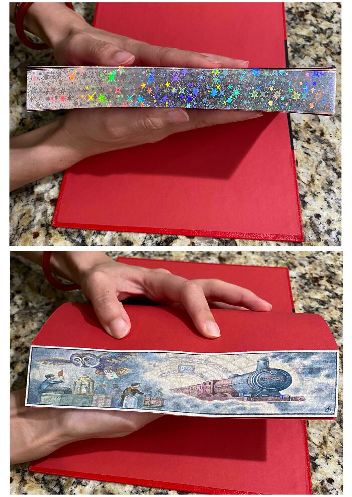 My Newly Acquired Harry Potter And The Philosopher's Stone Fore-Edge Painted Book! Featuring A Secret Platform 9 3/4 Scene On The Edges Of The Pages.