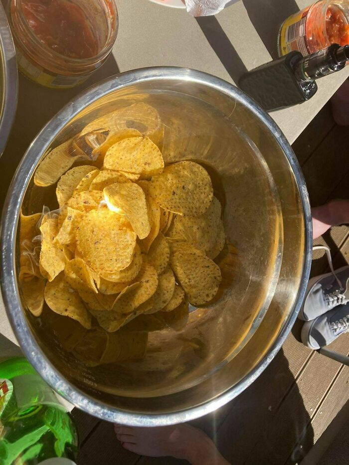 The Chip Bowl Acted As A Parabolic Mirror And Set A Chip On Fire