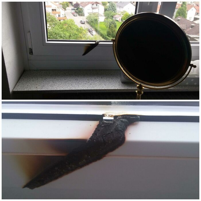 My Mom Accidentally Left Her Mirror In Front Of The Window Over The Day. After Coming Back She Found This...
