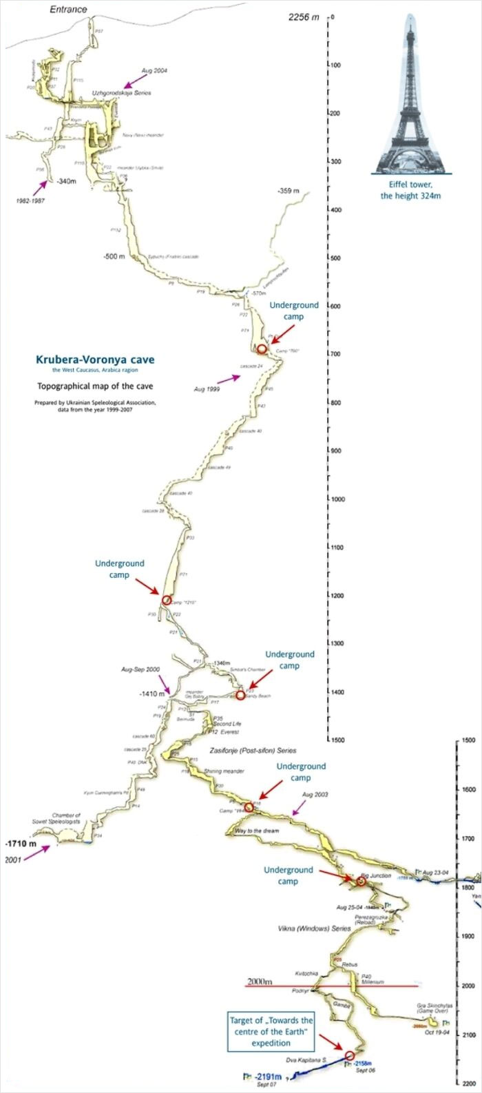 Map Of The 2191 Meter Deep Krubera Cave. The Deepest Known Cave System In The World