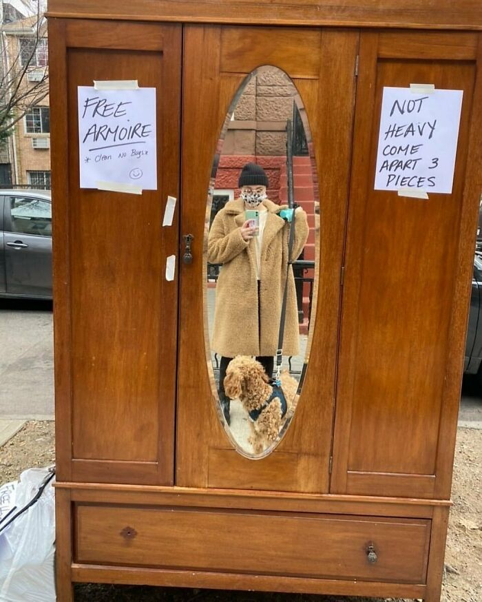 It Does Say Not Heavy... Armoire In Front Of 567 Bainbridge St. In Brooklyn! Cute Pup Not Included