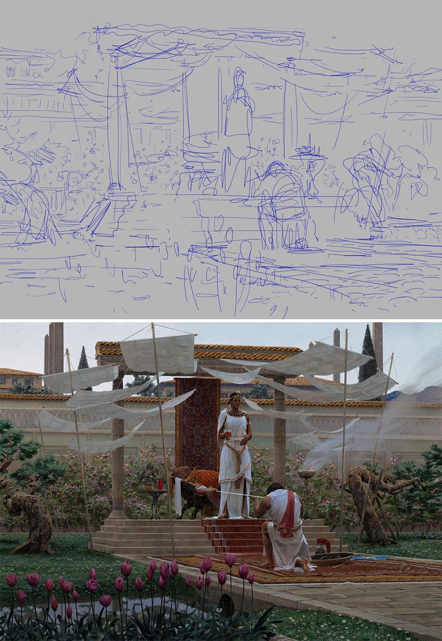 Sketch vs. Final Artwork