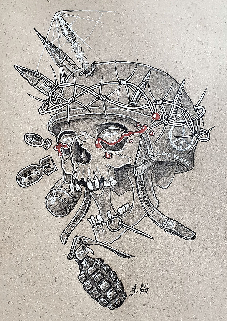 War (Some Symbols Of War/Army With A Barb Wire Crown, Searching For Peace By Making War)