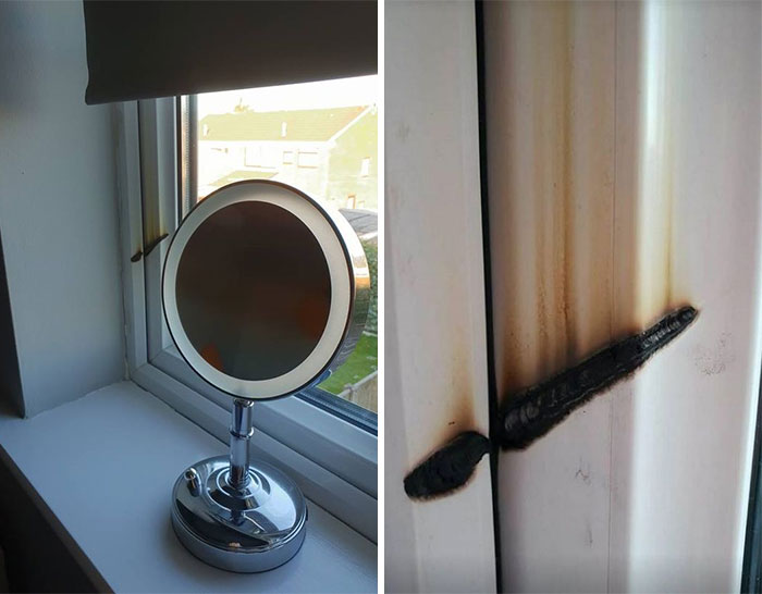 Woman's Warning After Make-Up Mirror Almost Causes Bedroom Blaze