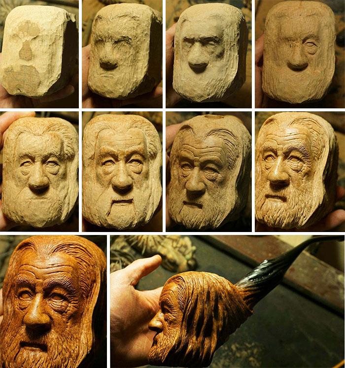 He tallado esta pipa de Gandalf en madera de brezo